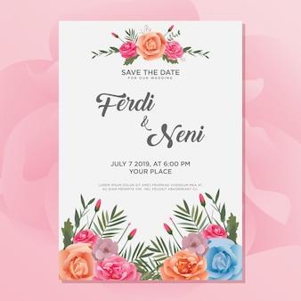 Modello di carta floreale invito a nozze