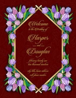 Modello di carta floreale matrimonio tulipano