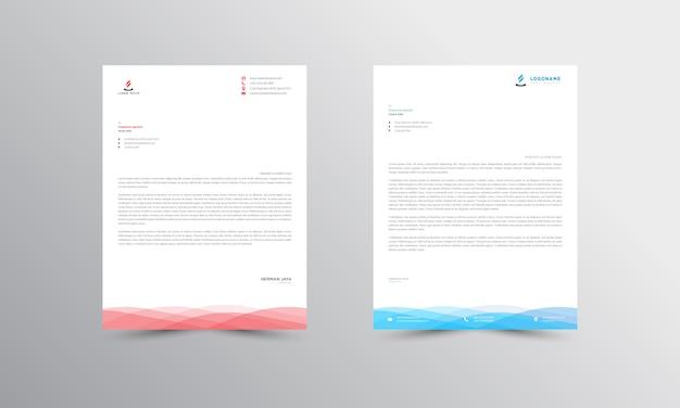 Modello di carta intestata astratta blu e rosso