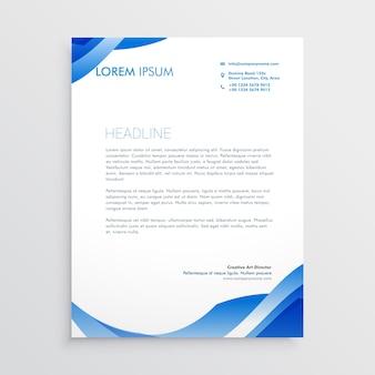 Modello di carta intestata blu astratta di affari
