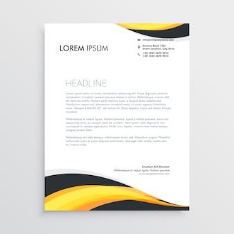 Modello di carta intestata elegante onde gialle e grigie