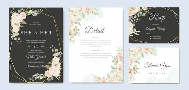 Modello di carta invito bellissimo matrimonio
