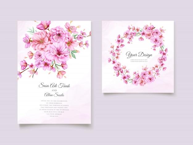 Modello di carta invito elegante fiore di ciliegio ad acquerello