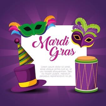 Modello di carta mardi gras per la celebrazione del festival