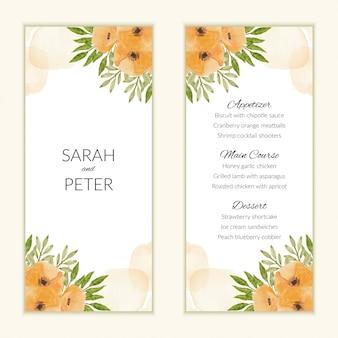 Modello di carta menu con bouquet di fiori di papavero dell'acquerello