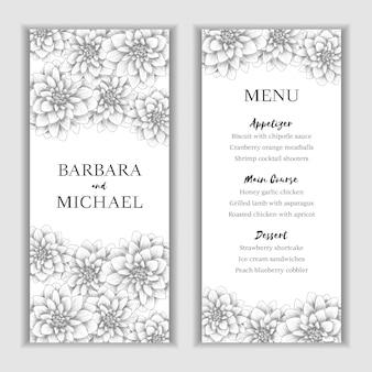 Modello di carta menu con decorazione floreale disegnata a mano