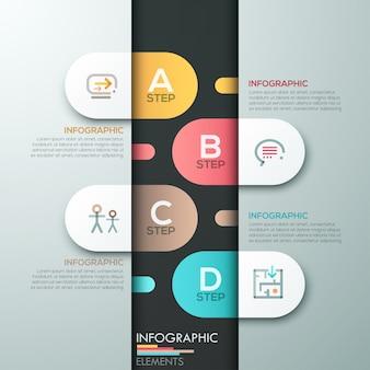 Modello di carta moderna infografica con forme ovali
