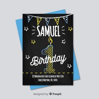 Modello di carta numero di prima lavagna compleanno