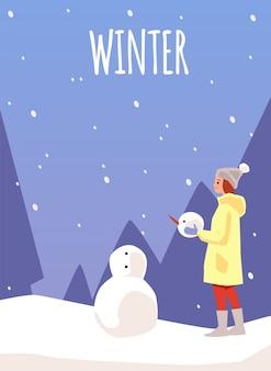 Modello di carta o poster invernale con donna o ragazza che fa pupazzo di neve