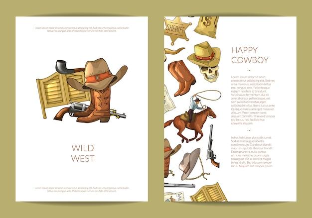 Modello di carta o volantino elementi cowboy selvaggio west disegnati a mano