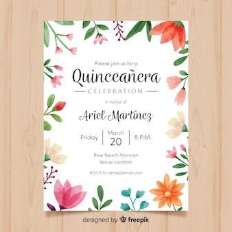 Modello di carta quinceanera cornice floreale dell'acquerello