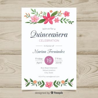 Modello di carta quinceanera ornamenti floreali dipinti a mano