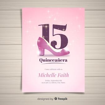 Modello di carta quinceanera tacco scintillante