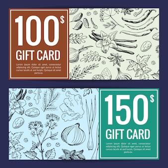 Modello di carta regalo schizzo di erbe selvatiche. sconto disegnato a mano delle spezie delle erbe di vettore