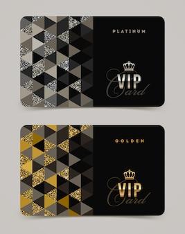 Modello di carta vip d'oro e platino.
