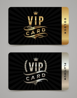Modello di carta vip d'oro e platino