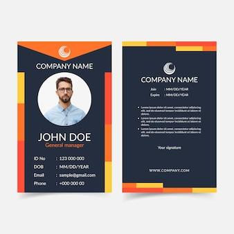 Modello di carte d'identità astratte anteriore e posteriore