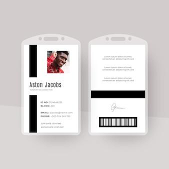Modello di carte d'identità dal design minimalista