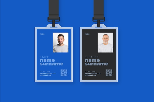 Modello di carte d'identità in stile minimal