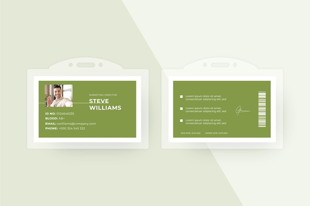 Modello di carte d'identità in stile minimalista