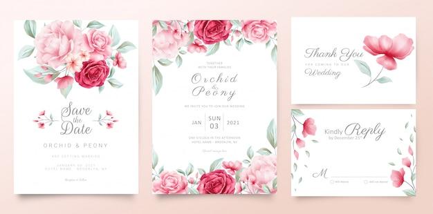 Modello di carte di invito di nozze botanico con fiori dell'acquerello e foglie selvatiche
