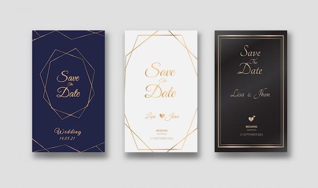 Modello di carte di invito di nozze con linea geometrica oro.