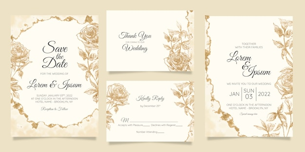 Modello di carte di invito matrimonio floreale con lamina d'oro dell'acquerello