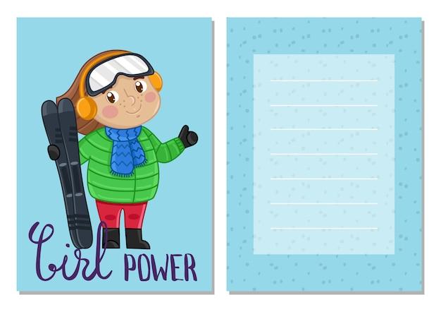 Modello di cartolina bambini ragazza potere