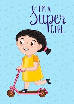 Modello di cartolina bambini super girl