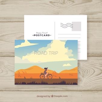 Modello di cartolina con il concetto di viaggio