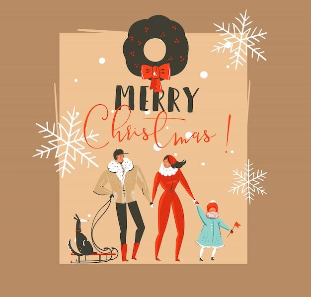 Modello di cartolina d'auguri con illustrazioni di coon vintage tempo disegnato a mano buon natale e felice anno nuovo con la gente della famiglia walkin con il cane sulla slitta su fondo marrone