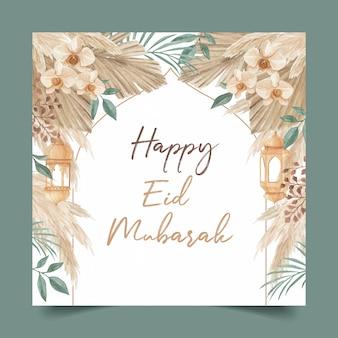 Modello di cartolina d'auguri felice eid mubarak decorato con lanterna, foglie di palma, erba di pampa e orchidea