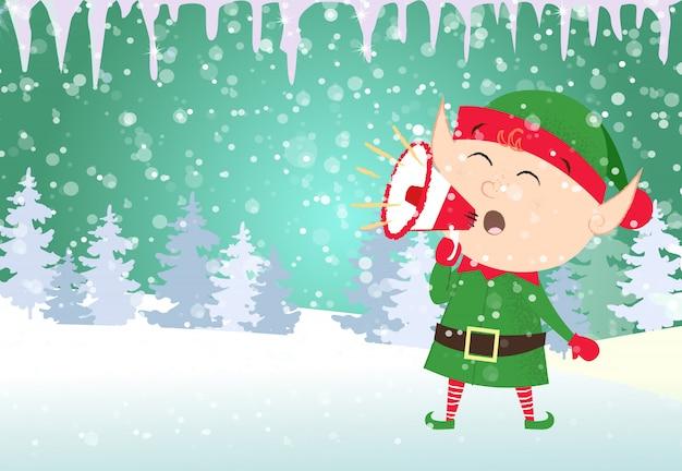 Modello di cartolina di natale. elfo di natale che urla