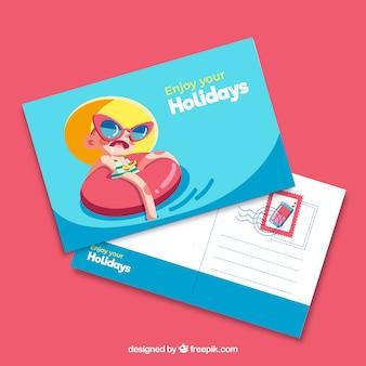 Modello di cartolina di vacanza estiva