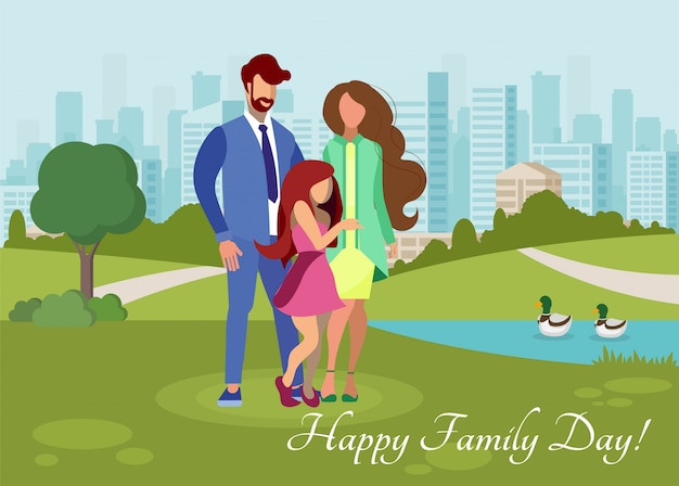 Modello di cartolina di vettore piatto giorno felice famiglia