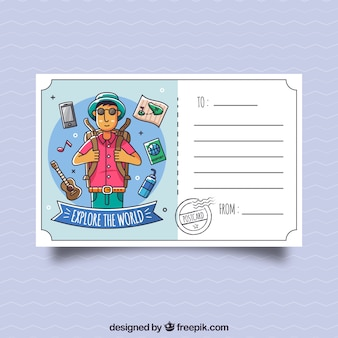 Modello di cartolina di viaggio con carattere disegnato a mano