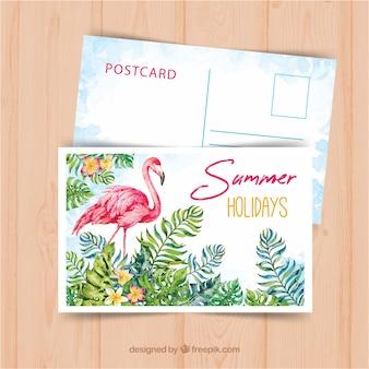 Modello di cartolina di viaggio estivo con stile acquerello