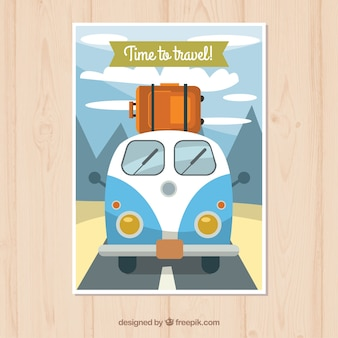 Modello di cartolina di viaggio in stile piatto