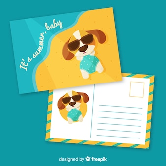 Modello di cartolina piatto vacanze estive