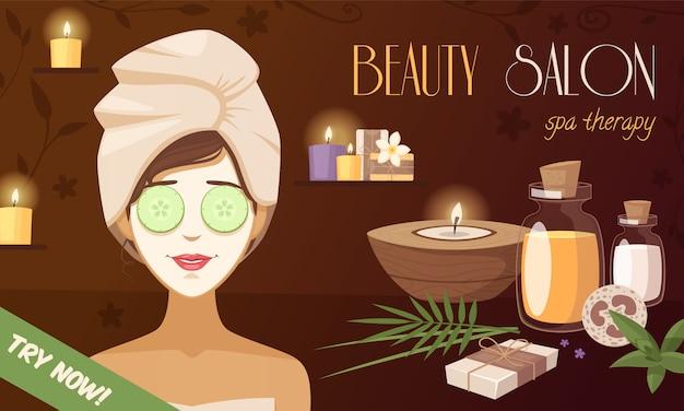 Modello di cartone animato di salone di bellezza spa