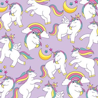 Modello di cartone animato unicorno carino