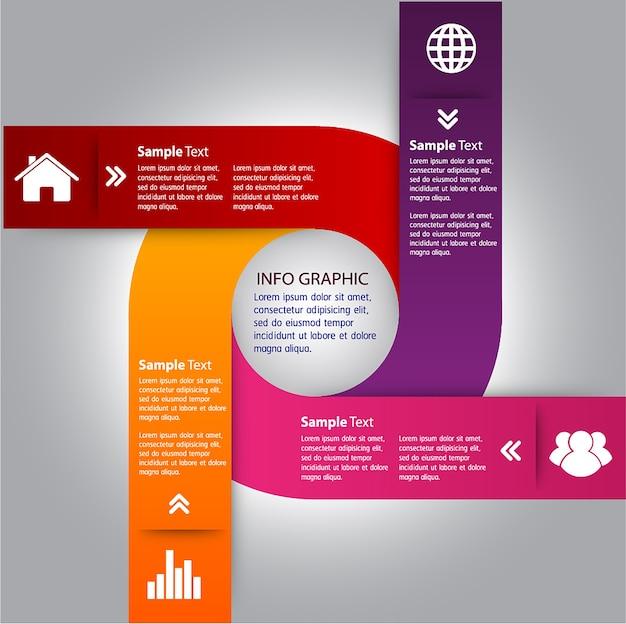 Modello di casella di testo cerchio, banner infografica