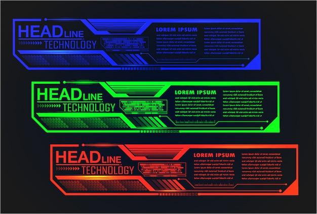 Modello di casella di testo cyber moderno, banner infografica