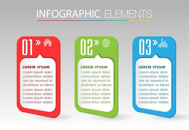 Modello di casella di testo di carta, banner infografica