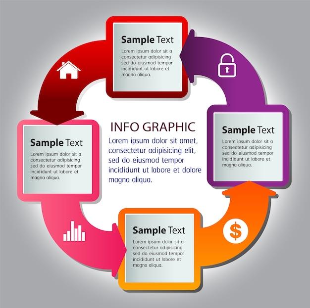 Modello di casella di testo moderna freccia cerchio, banner infografica