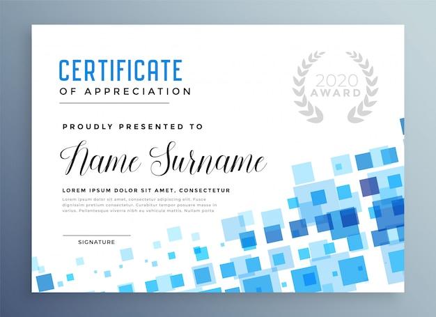 Modello di certificato astratto blu stile mosaico