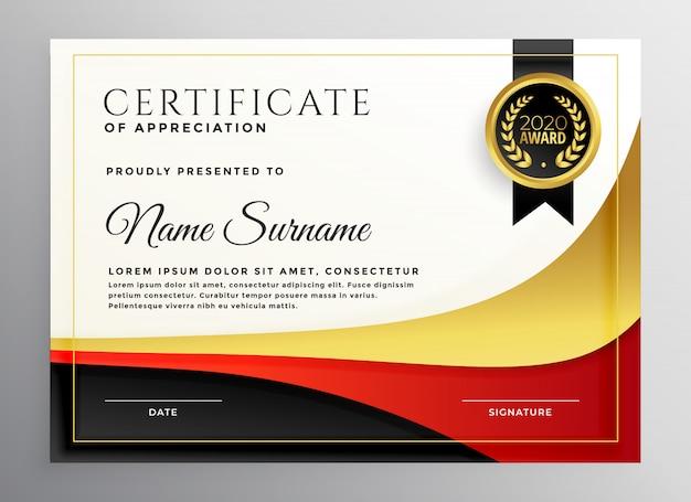 Modello di certificato aziendale rosso e oro