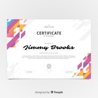 Modello di certificato colorato con design piatto