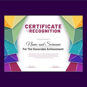 Modello di certificato colorato con forme geometriche