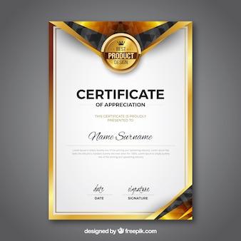 Modello di certificato con colore dorato